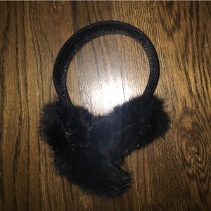 Surell Black Rabbit Fur ear muffs